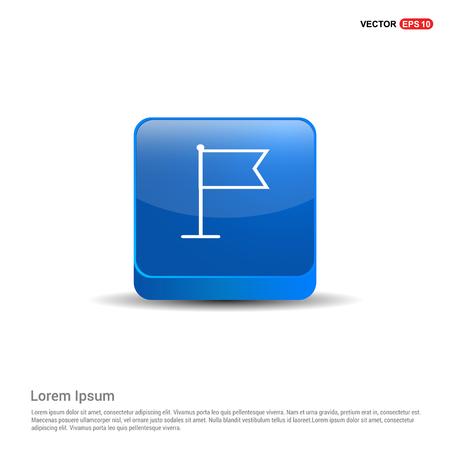 Flag mark icon - 3d Blue Button.