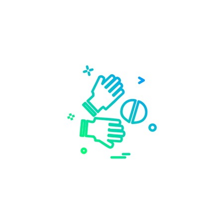 Catch cricket  gloves  wicketkeeper icon vector design Vettoriali