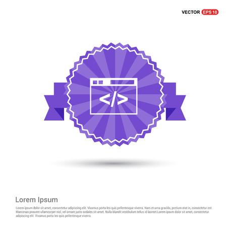 Clapper board icon - Purple Ribbon banner