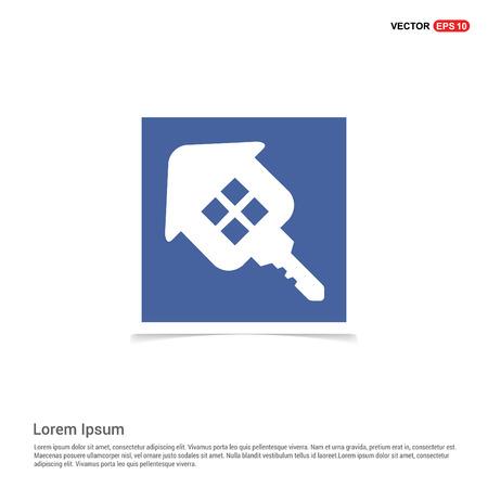 House Key Icon - Blue photo Frame Illustration