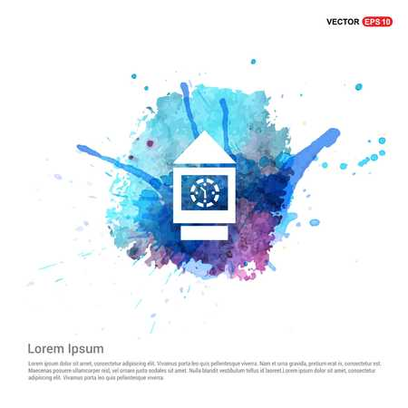 Wall Clock Icon - Watercolor Background Illustration