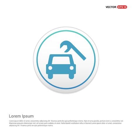Repair Car Icon - white circle button Illustration