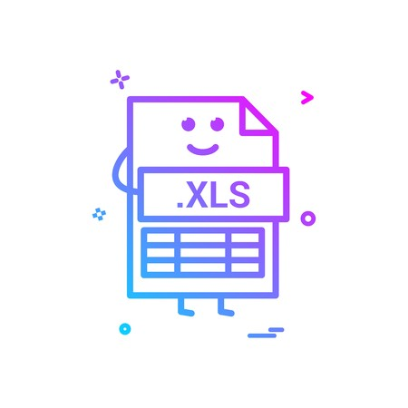 Computer xls file format type icon vector design
