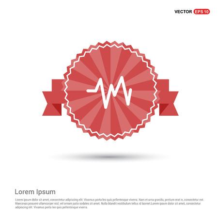 Ecg icon - Red Ribbon banner Illustration
