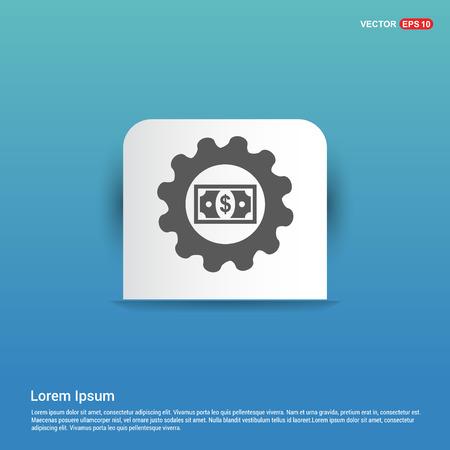 Dollar Gear Icon - Blue Sticker button Illustration