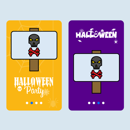 Happy Halloween invitation design with danger board vector Ilustração
