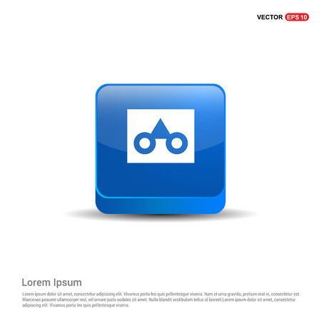 glasses frame icon - 3d Blue Button. Illustration