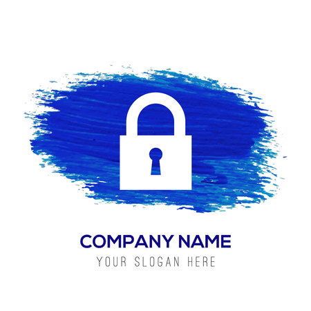 Web Lock Icon - Blue watercolor background