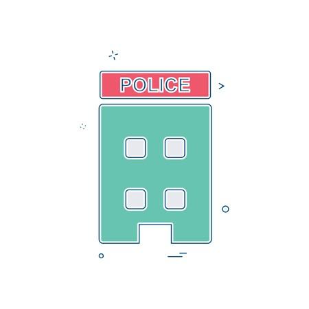building police station icon vector design