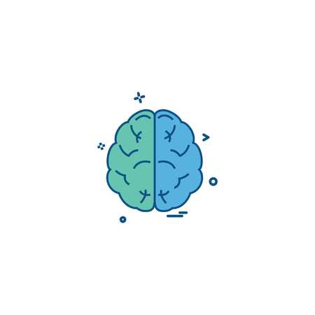brain divide inkcontober sains icon vector desige