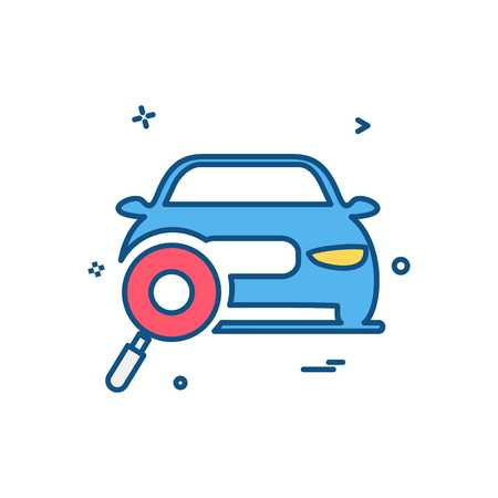 auto workshop search car icon vector design Foto de archivo - 110557184