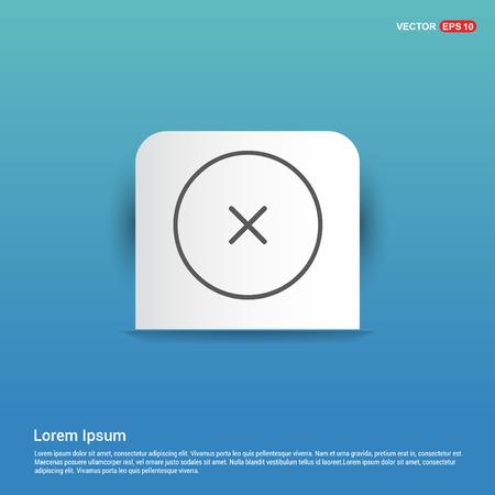 Close, Cancel or Delete Icon - Blue Sticker button Ilustración de vector