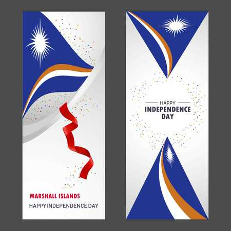 Marshall Islands Happy independence day Confetti Celebration Background Vertical Banner set