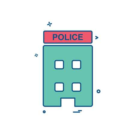 building police station icon vector design