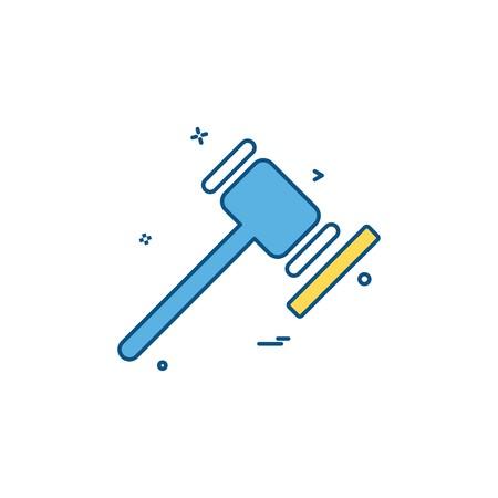 Martillo de la corte de justicia justicia ley y orden orden de diseño de vector de icono de corte Ilustración de vector