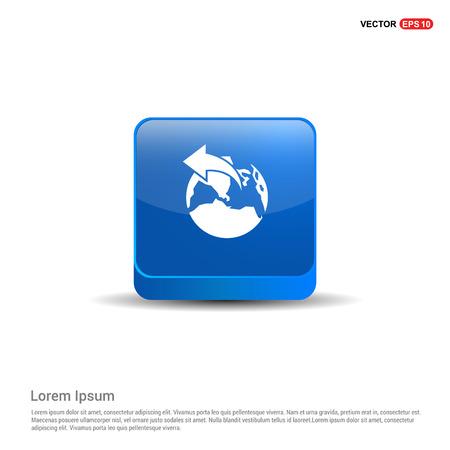 World globe icon - 3d Blue Button.