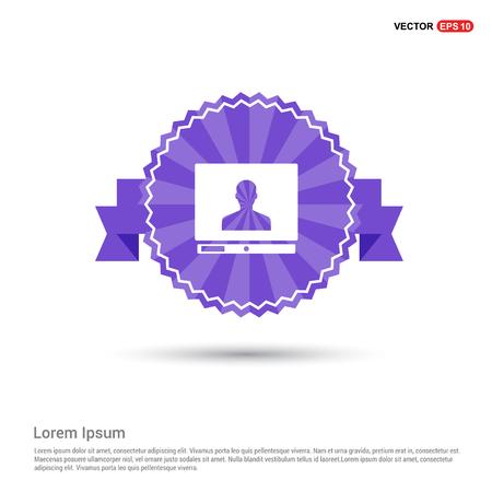 Computer Icon - Purple Ribbon banner