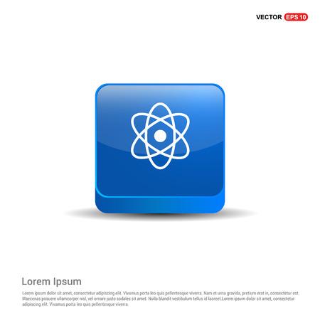 connection of cells molecule icon - 3d Blue Button. Векторная Иллюстрация