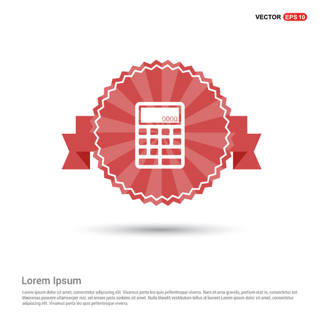 Electronic calculator icon - Red Ribbon banner