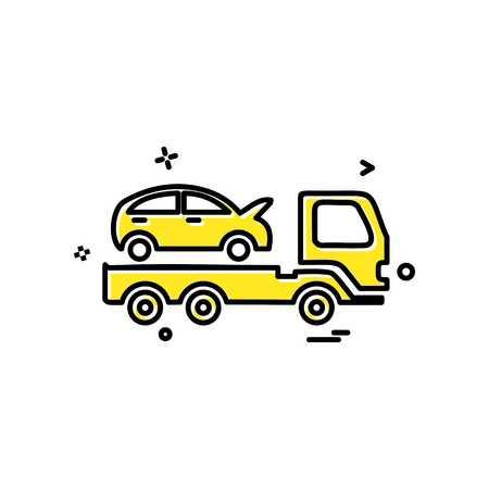 Conception de vecteur d'icône de dépanneuse de voiture d'assurance automobile