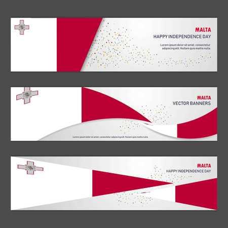 Malta independence day abstract background design banner and flyer, postcard, landscape, celebration vector illustration Vektoros illusztráció