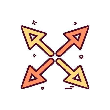 arrow cross fourway icon vector design  イラスト・ベクター素材