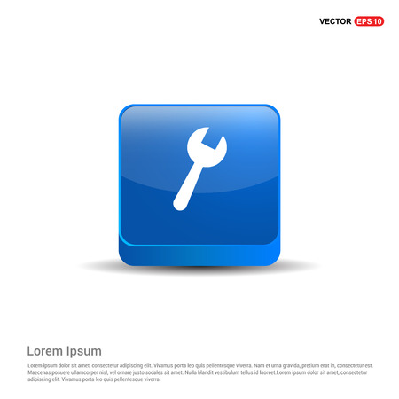 wrench Icon - 3d Blue Button.