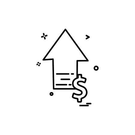 arrow up high dollar icon vector design Illustration