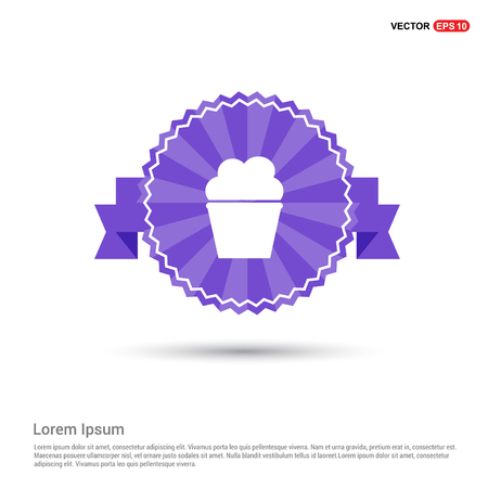 Popcorn exploding inside the packaging icon - Purple Ribbon banner Çizim