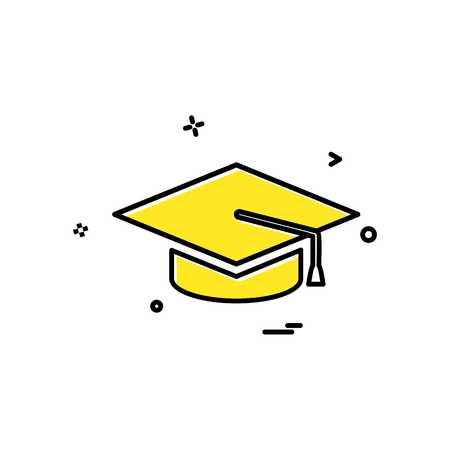College education graduation cap hat university icon vector design Vector Illustratie
