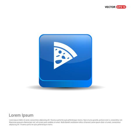 Classic pizza icon - 3d Blue Button. Çizim