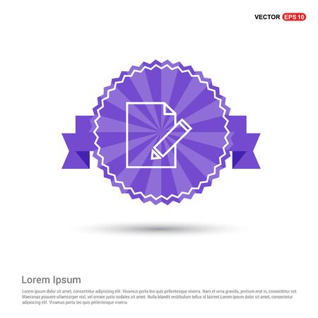 Edit, pencil icon - Purple Ribbon banner