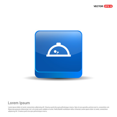 Hot Pot Icon - 3d Blue Button. Illustration
