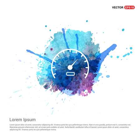 Speedometer Icon - Watercolor Background Illustration
