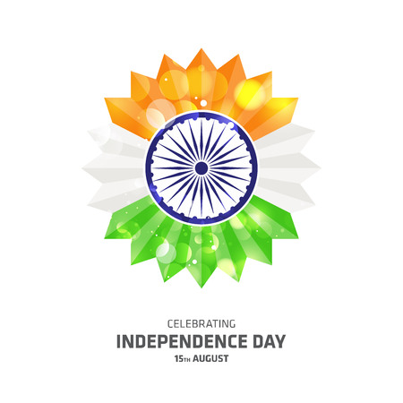 India independence day card with creative design and typography vector Illustration