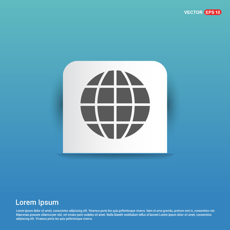 World globe icon - Blue Sticker button