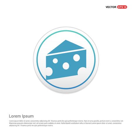 Piece of cheese icon - white circle button Çizim
