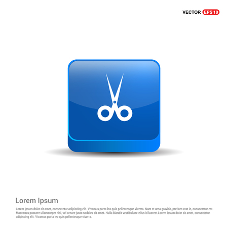 Halloween Scissors icon - 3d Blue Button. Vectores