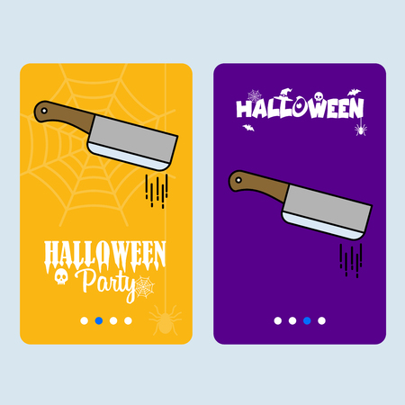 Happy Halloween invitation design with knife vector