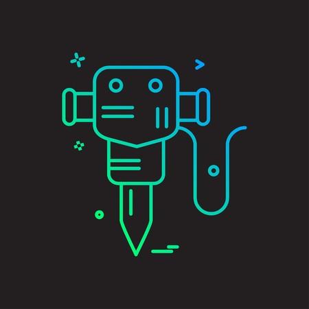 hammer jack  labor icon vector design Illustration