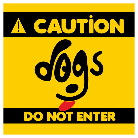 Beware of dogs typographic design vector with light background Banque d'images - 110636260