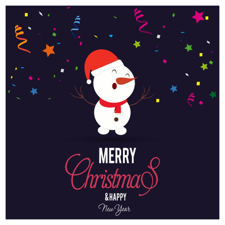 Christmas card with creative design and typography vector  イラスト・ベクター素材