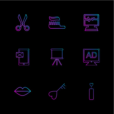 sicssor; tooth paste; ecg; medical; message; board; tv; ad; lips; heart; icon; vector; design; flat; collection; style; creative; icons