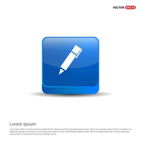 Writing pen icon - 3d Blue Button.