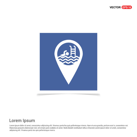 Swimming Pool Location Icon - Blue photo Frame