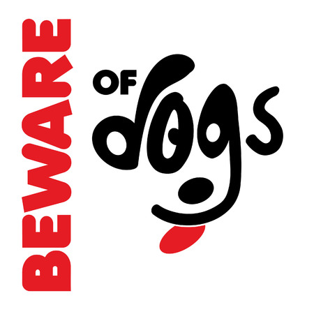 Beware of dogs typographic design vector with light background Banque d'images - 110623788