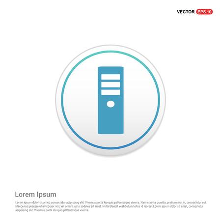CPU Tower Icon - white circle button