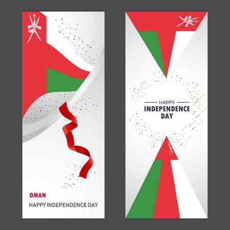 Oman Happy independence day Confetti Celebration Background Vertical Banner set