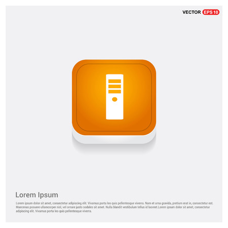 CPU Tower Icon Orange Abstract Web Button - Free vector icon Illustration