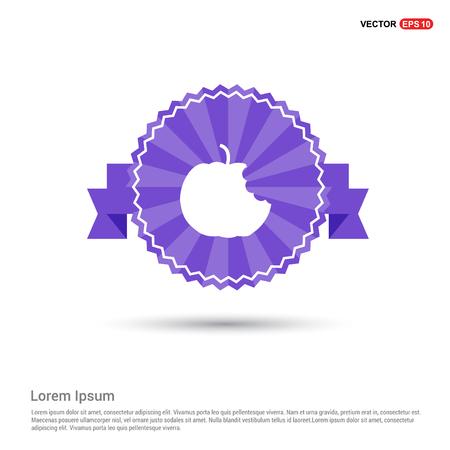 Apple fruit icon - Purple Ribbon banner Banque d'images - 118272347